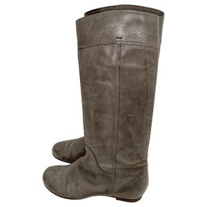 Chloe Round Toe Heloise Flat Leather Riding Boots